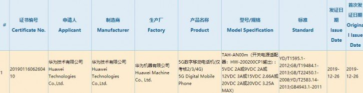 Huawei Mate Xs 3c certification