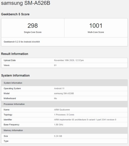 New Samsung Galaxy A52 seen on GeekBench with SD750 1