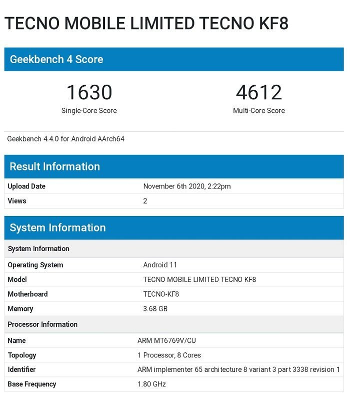 Tecno KF8 seen on multiple site with Helio G80 and Android 11 1