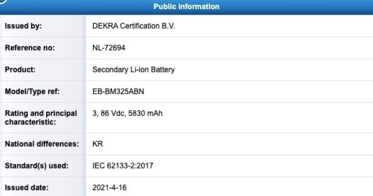 The Samsung Galaxy M32 4G might pack a 6000mAh battery